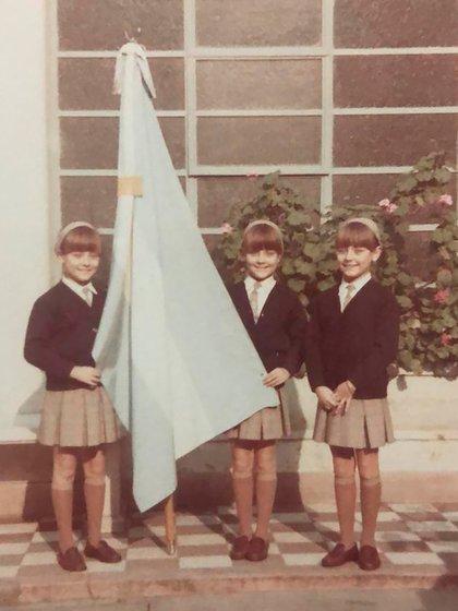 Sus padres compaginaban las horas de grabación con las de escuela (Foto archivo personal Trillizas de Oro)