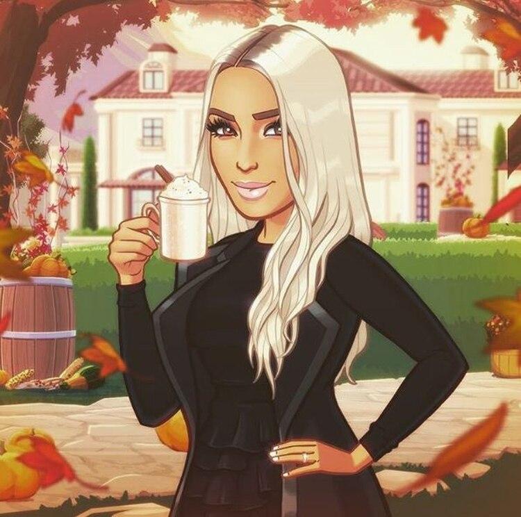 Kim Kardashian publicó una caricatura para felicitar a sus seguidores. (Foto: Instagram)