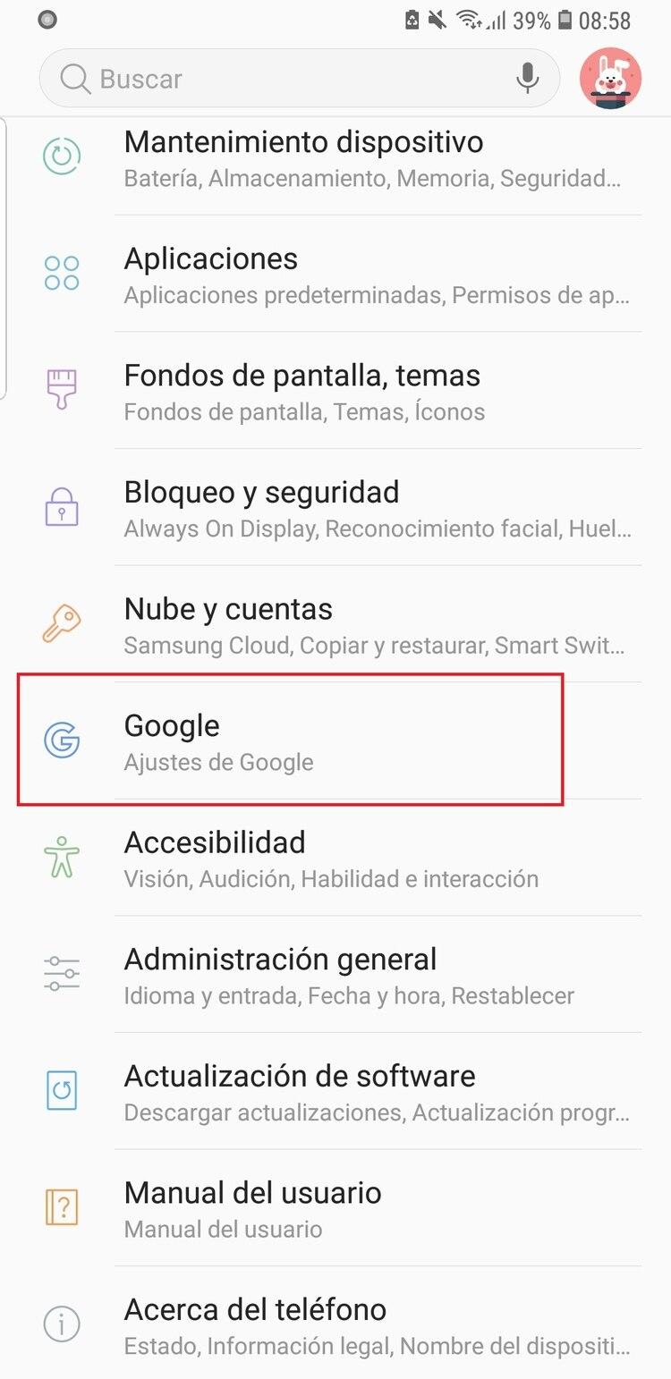 Hay que ir hasta la opción Google dentro del menú de configuración.