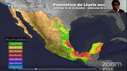 Pronóstico de lluvias para cinco días (Foto: Captura de pantalla)