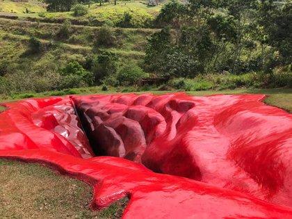 Olavo de Carvalho, criticó la obra y propuso que se creara una estructura con forma de pene gigante también. (Foto: Facebook/Juliana Notari)