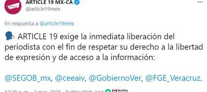 La pérdida de vidas que ha pagado el periodismo en la entidad es de 29 comunicadores asesinados en el ejercicio de su profesión (Foto: Twitter/@article19mex)