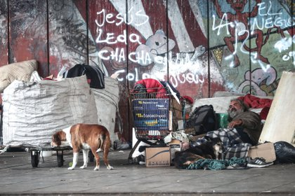 Un hombre en situación de calle descansa junto a sus perros en la Villa 21 de Buenos Aires