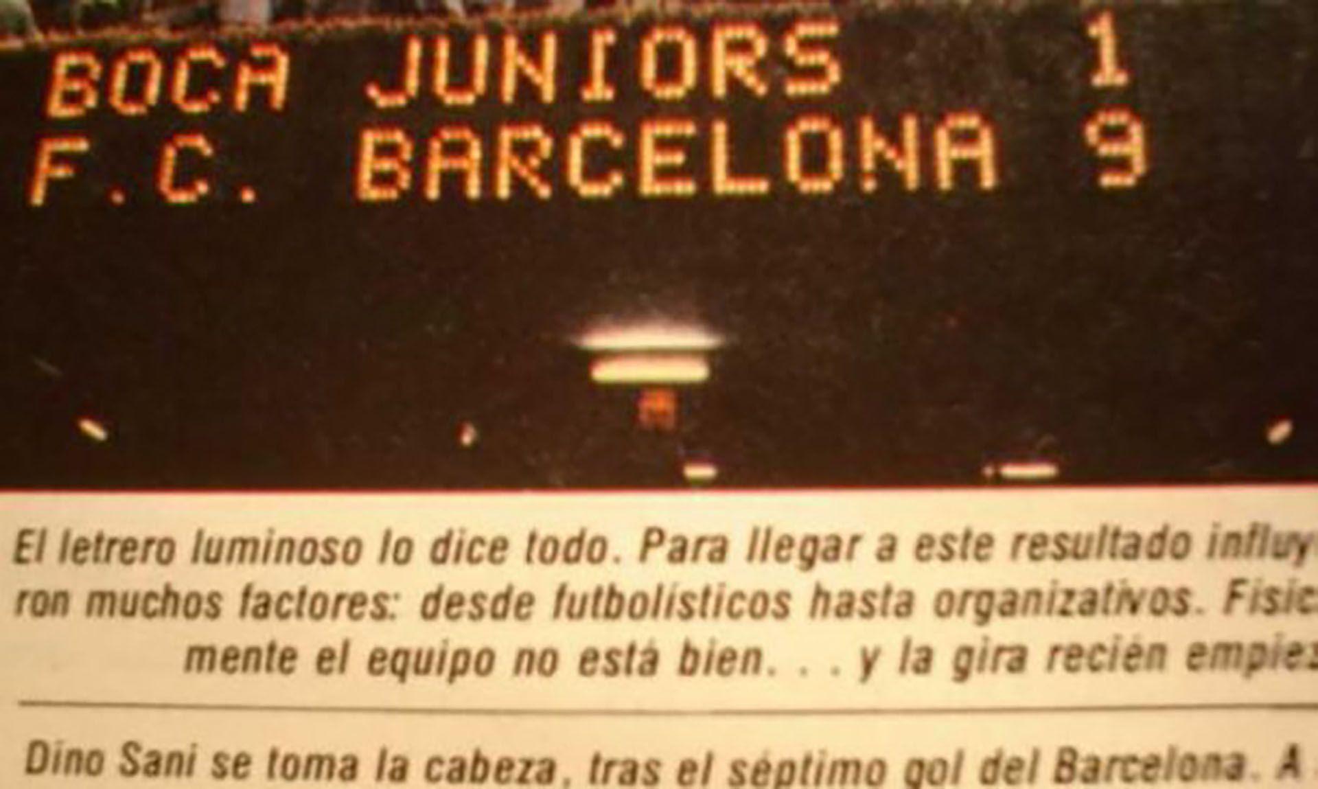 Tablero electrónico del Camp Nou con el lapidario resultado