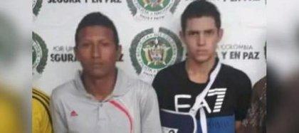 Brayan Cardona Rojas y José David Sánchez fueron condenados a 16 años y 8 meses de prisión por homicidio agravado. Foto: Policía
