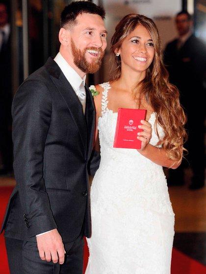 Leo Messi y Antonela Roccuzzo el día de su boda