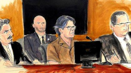 Ilustración del juicio contra Keith Raniere, líder de la secta sexual XVIVM (Foto: AP)
