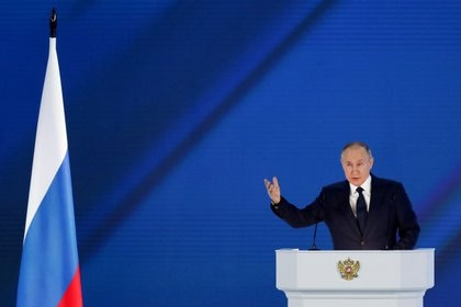Putin durante su discurso anual ante la Asamblea Federal rusa (REUTERS/Evgenia Novozhenina)