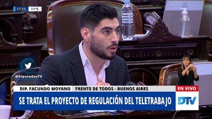 Facundo Moyano, en el debate en Diputados sobre el teletrabajo
