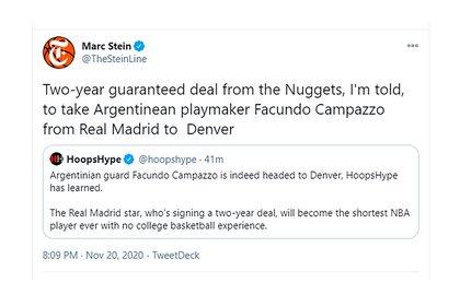 La información de Marc Stein sobre el contrato de Campazzo
