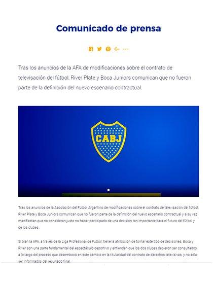 El texto que publicó Boca e hizo difundir a través de sus redes sociales