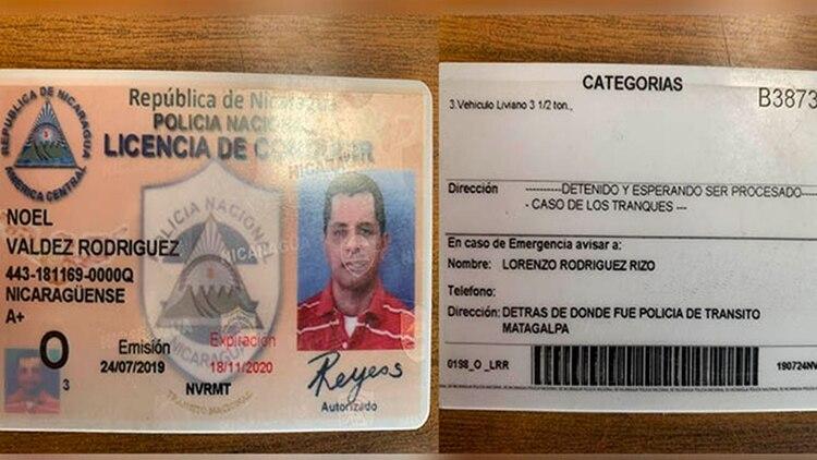 Licencia de conducir donde la Policía se burla de la dirección del ex reo político Noel Valdez. -