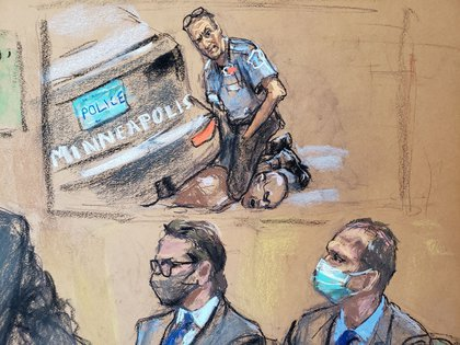 Un dibujo sobre los videos expuestos durante el juicio, que mostraron la muerte de George Floyd a manos de Derek Chauvin. REUTERS/Jane Rosenberg