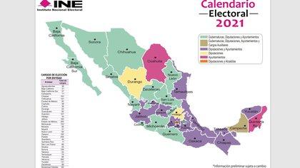 El INE publicó el mapa electoral 2020-2021, en el que se muestan los cargos que serán disputados el próximo año en cada entidad. (Foto: Cortesía / INE)