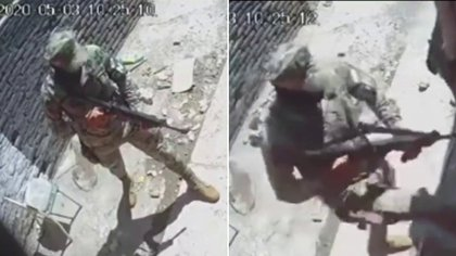 """Elementos de la Guardia Nacional amenazaron al presunto criminal conocido como """"El Cholo"""" (Foto: Captura de pantalla)"""