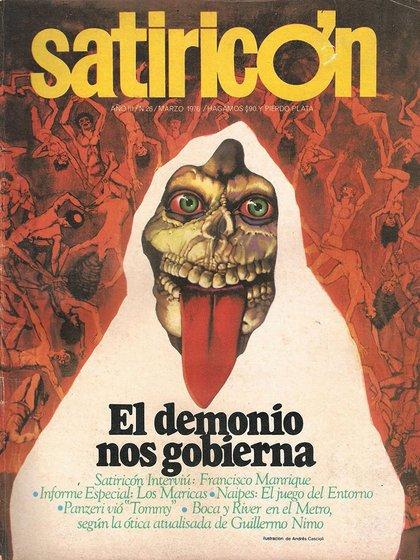 Tapa de revista Satiricón de marzo de 1976
