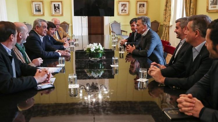 Macri se reunió esta semana en Casa de Gobierno con los dirigentes agropecuarios de la Mesa de Enlace (Presidencia de la Nación)