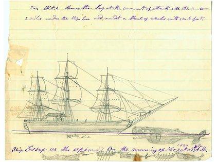El Essex atacado por el enorme cachalote. La ilustración es de Thomas Nickerson, uno de los sobrevivientes (Wikipedia)