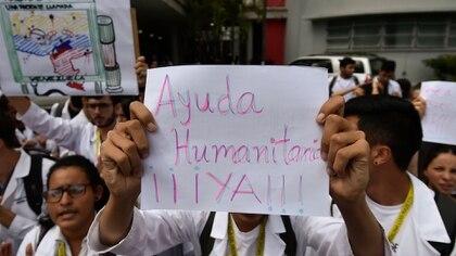 Una de las protestas por la crisis sanitaria en Venezuela (AFP)
