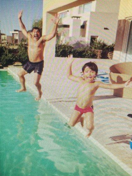 La divertida foto de Diego con Benjamín en la casa de Gianinna en Tigre
