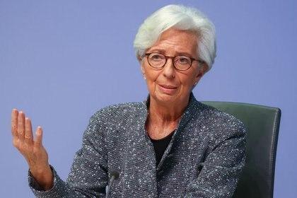 La Presidenta del Banco Central Europeo (BCE), Christine Lagarde, durante una conferencia en Frankfurt, Alemania, el 12 de marzo de 2020 (REUTERS/Kai Pfaffenbach)