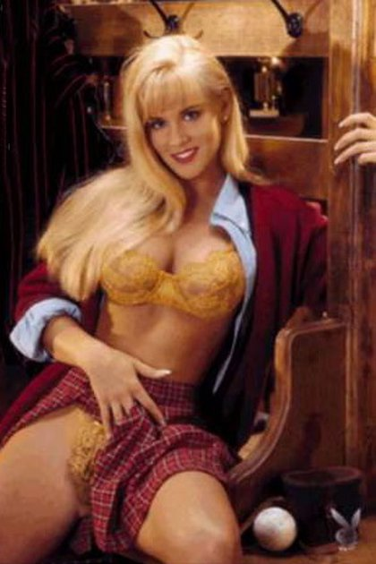 Jenny McCarthy en su primera sesión en Playboy, en octubre de 1993