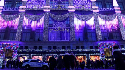 Saks Fifth Avenue's holiday light show can be seen on display in the Manhattan borough of New York, U.S., November 27, 2016. REUTERS/Darren Ornitz
