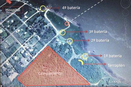 La ubicación de las baterías argentinas, el campamento y el hospital de campaña, según un croquis realizado por los arqueólogos que trabajan en el lugar (Gentileza Mariano Ramos)
