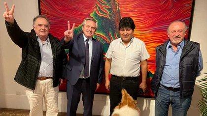 Alberto Fernández, Evo Morales, Eduardo Valdés y Hugo Yasky en la quinta de Olivos
