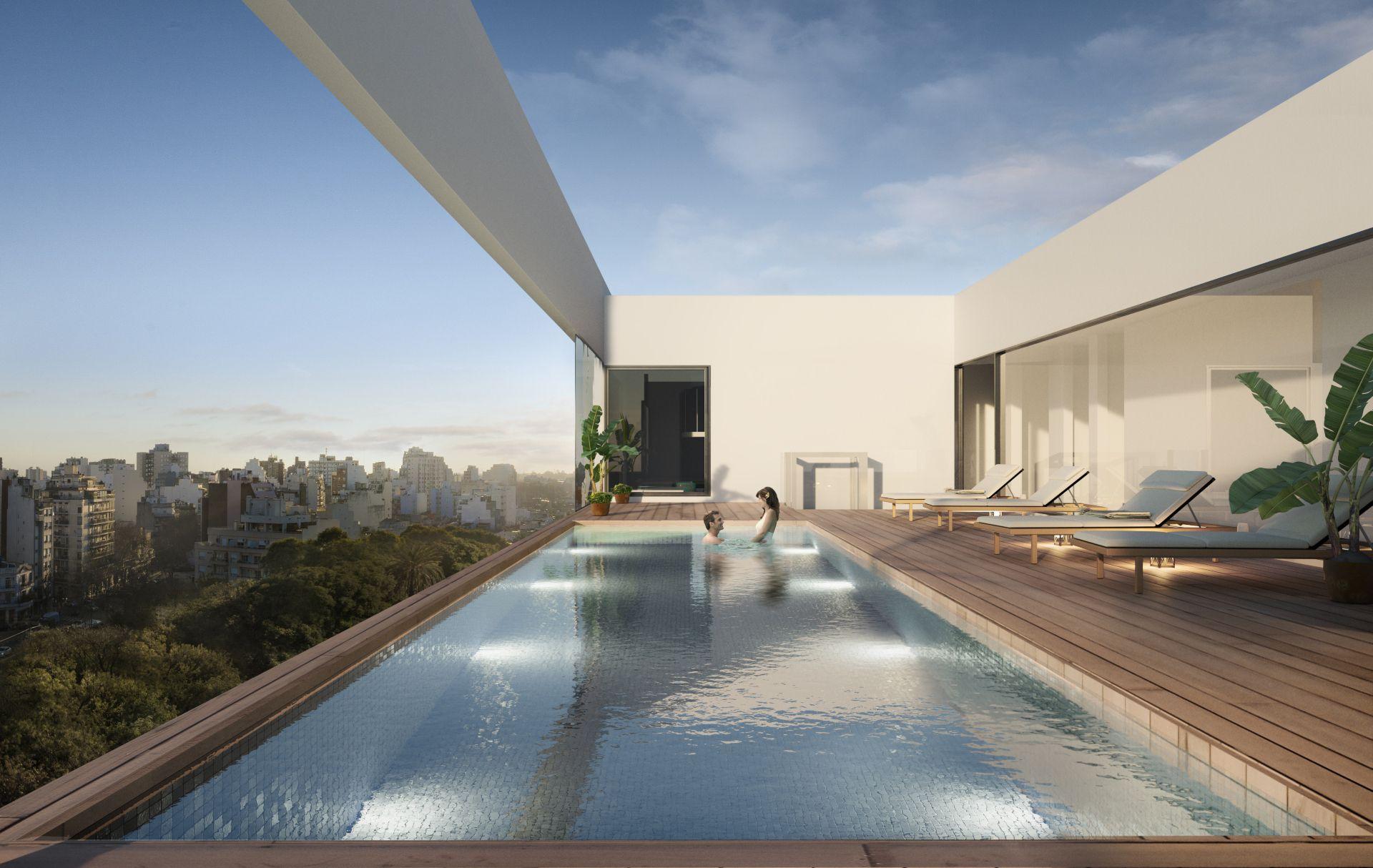 La piscina del edificio tendrá una amplia vista a la Plaza 24 de Septiembre