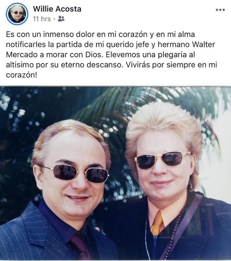 El mensaje que Acosta publicó hace unas horas en su cuenta de Facebook
