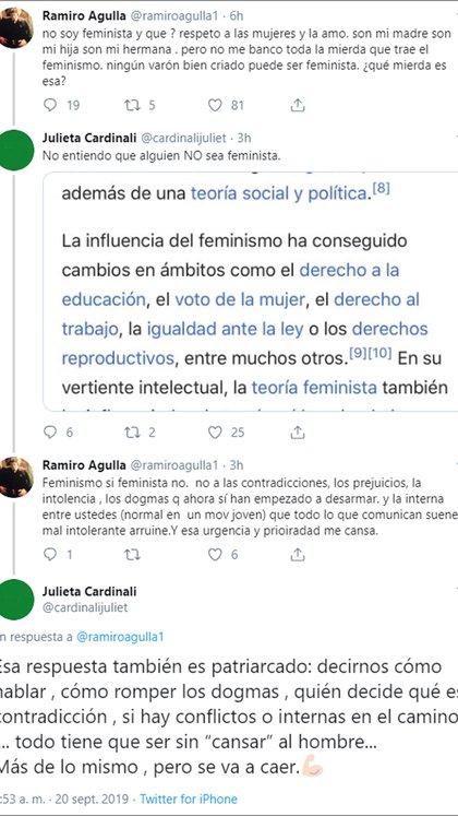 El intercambio en Twitter de Ramiro Agulla y Julieta Cardinali