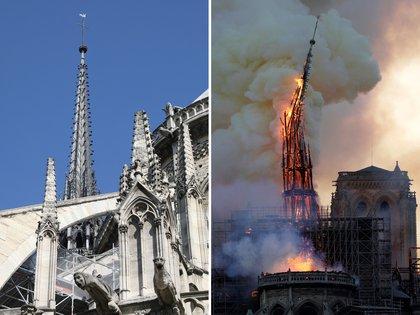 Un antes y después de la aguja (Photo by Ludovic MARIN and Geoffroy VAN DER HASSELT / AFP)