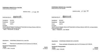 El 5 de enero, el prosecretario Mariano Gerván canjeó pasajes por $ 29.608