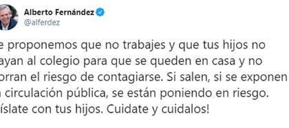 El presidente Alberto Fernández instó a trabajar desde casa para evitar el contagio.