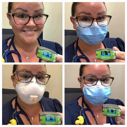 La médica pediatra Megan Hall realiza 4 experimentos sobre tapabocas y los muestra en las redes sociales