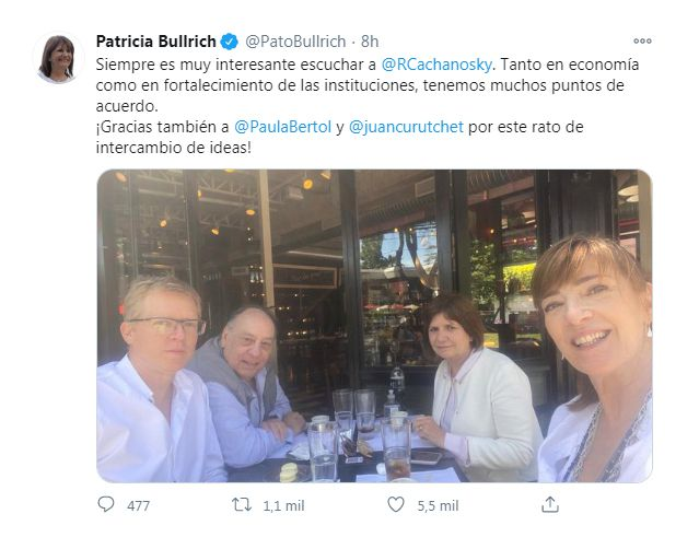 Tweet de Patricia Bullrich