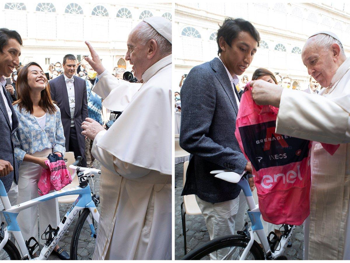 Emocionante visita de Egan Bernal al papa Francisco: le regaló una bicicleta  y la 'maglia rosa' del Giro - Infobae