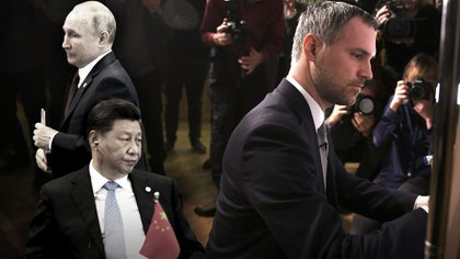 A la izquierda, Vladimir Putin y Xi Jinping. A la derecha, Zdenek Hrib, alcalde de Praga