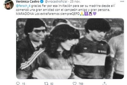 El periodista Fernando Schwartz contó su travesía a mediados de la década de los 80 para conseguir una entrevista del astro del fútbol (Foto: Twitter de Verónica Castro)
