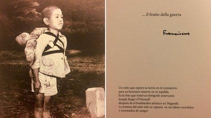 La imagenmuestra a un niño que espera turno para depositar a su pequeño hermano en el crematorio, poco después de la caída de la bomba atómica en Nagasaki, Japón, en 1945
