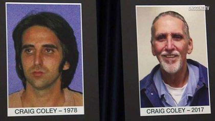 Craig Coley en 1978 (izquierda) y en 2017 (derecha)