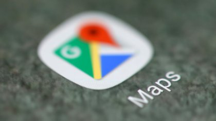 FILE PHOTO: The Google Maps app logo is seen on a smartphone in this picture illustration taken September 15, 2017. REUTERS/Dado Ruvic/Illustration/File Photo