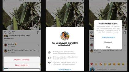 """""""Restringir está diseñado para proteger silenciosamente una cuenta, sin perder de vista al acosador"""", explicó Instagram en su comunicado oficial."""