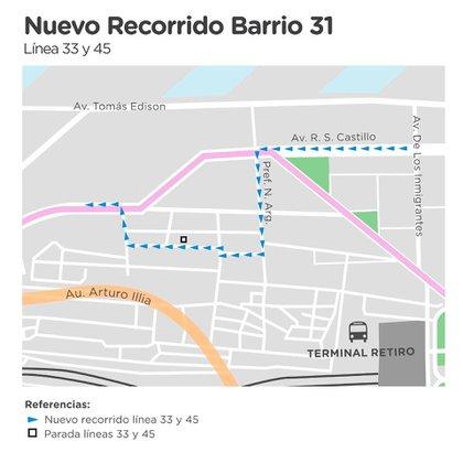 El trayecto que harán los colectivos dentro del barrio.