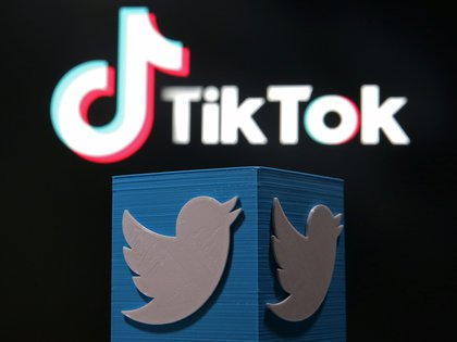 A 3D-printed Twitter logo is placed in front of a displayed Tik Tok logo in this illustration picture taken August 9, 2020. REUTERS/Dado Ruvic/Illustration