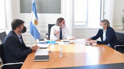 La última reunión que mantuvieron Santiago Cafiero, Carlos Bianco y Felipe Miguel en la Casa Rosada (Jefatura de Gabinete)