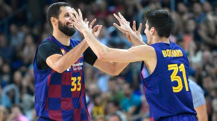 Leandro Bolmaro protagonizó la mejor jugada de la jornada al asistir al ex NBA Nikola Mirotic, máxima estrella del Barcelona (fcbarcelona.cat)