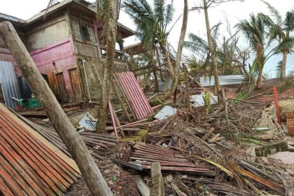 Several buildings destroyed after the passage of Hurricane Iota today, Thursday in Puerto Cabezas in Nicaragua.  EFE / Erika P rez
