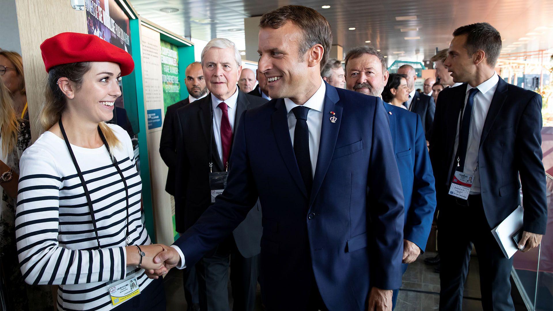 El presidente francés Emmanuel Macron en su llegada a la cumbre del G7 en Biarritz (Reuters)